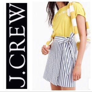 J Crew Textured Wrap Side Tie Mini Skirt Stripe 4
